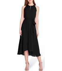 women's tahari sleeveless tie waist chiffon midi dress