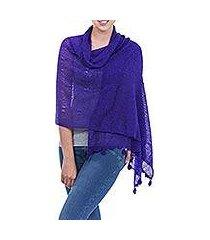 alpaca blend shawl, 'gossamer purple stars' (peru)