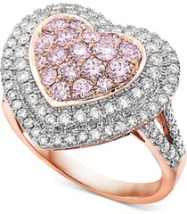 natural pink diamond heart halo cluster statement ring (1-1/2 ct. t.w.) in 14k rose gold