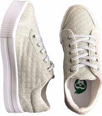 zapatos tenis casuales mujer blanco brillante