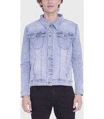 chaqueta ellus denim repreve light azul - calce regular