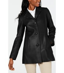 anne klein petite button-down leather coat