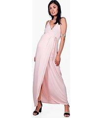 maternity mia ruffle shoulder wrap maxi dress