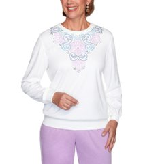alfred dunner petite long weekend embroidered-yoke pullover