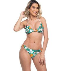 biquini cortininha com lacinhos tropical maré brasil feminino - feminino