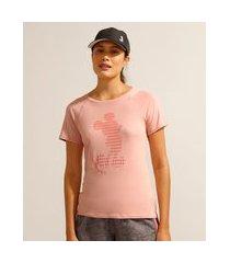 camiseta de poliamida esportiva ace mickey manga curta decote redondo rosê