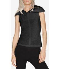 b new york safe cotton wide-collar sleeveless top