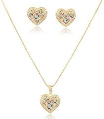 conjunto coração cravejado com micro zircônias coloridas em banho de ouro 18k