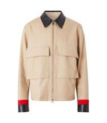 burberry jaqueta de gabardine com detalhe de listras - neutro