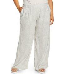 plus size women's caslon pull-on linen blend high waist wide leg pants, size 3x - ivory