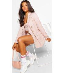 geruite getailleerde oversized blazer, roze