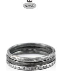 pierścionek texture - 3 obrączki srebro t16
