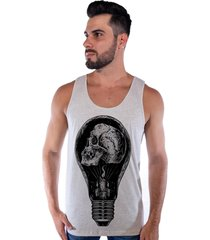 regata corvuz skull light creme mescla - bege - masculino - algodã£o - dafiti