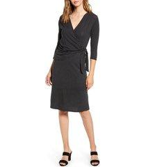 women's loveappella dot print wrap midi dress, size x-small - black
