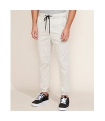 calça de sarja masculina jogger cinza claro
