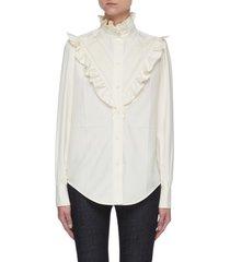 ruffle detail button down silk blouse