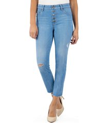 women's kut from the kloth reese ripped high waist ankle straight leg jeans