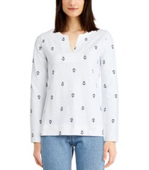 charter club cotton embroidered anchor top, created for macy's