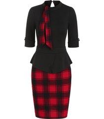 plaid print peplum sheath dress