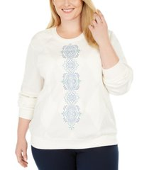 alfred dunner plus size all about ease embroidered top