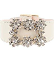 roger vivier leather bracelet flower jewel buckle