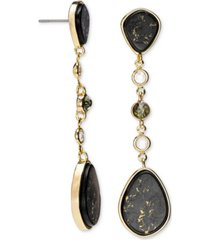 rachel rachel roy gold-tone crystal & gold-fleck black stone linear drop earrings