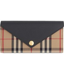 burberry vintage check continental wallet - brown