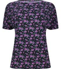 camiseta mujer flores lila cuello barco color negro, talla xs