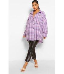 plus oversized boyfriend flannel shirt, lilac