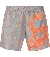 off-white broken fence swim shorts - grey