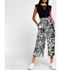 river island womens black animal print tie culottes