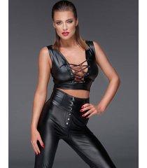 * noir handmade wetlook top met vetersluiting