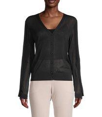 silk & cotton-blend buttoned cardigan