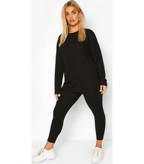 plus oversized geribbelde top en leggings set, zwart