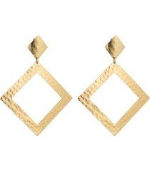 natori gold platedss diamond shape clip earrings, women's natori