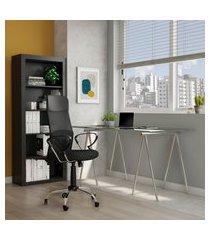 cadeira de escritório diretor giratória yukon ii com braços preta