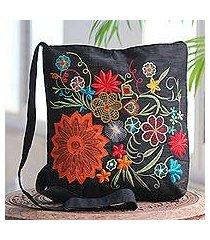 embroidered cotton blend shoulder bag, 'tropical paradise' (india)