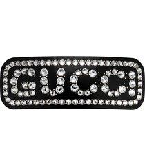 gucci crystal logo hair clip - black