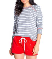 women's pj salvage joyful stripe pajama top, size small - grey