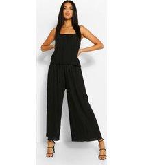 plisse strappy jumpsuit, black