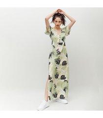 vestido amplio largo manga corta happer