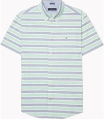 tommy hilfiger men's adaptive custom fit short sleeve shirt sky valley green - xxl