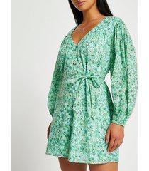 river island womens petite green long sleeve printed playsuit