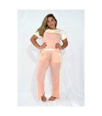 pijama mundo dos pijamas manga e calca laranja
