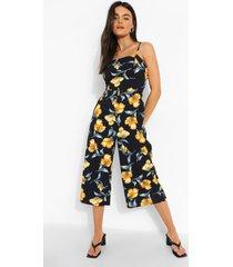 bloemenprint culotte jumpsuit met dubbele rug strik, navy