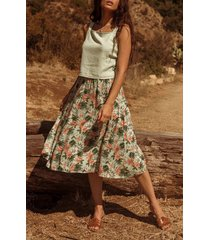 women's lost + wander island hopper floral skirt