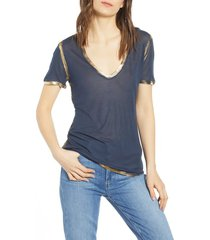 women's zadig & voltaire tino foil tee, size medium - blue