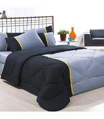 coordenado edredom + jogo de cama king aconchego premium 06 peças - preto/ cinza