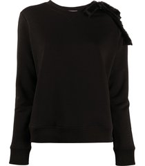 redvalentino bow-embellished crew neck sweatshirt - black
