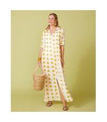 camisão feminino -camisão penelope cor: off white e amarelo estampado - tamanho: p